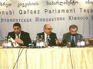 The heads of the delegation of the three south Caucasus parliaments left, Mr Siyavoush Novruzov of Azerbaijan, Mr Vakhtang Kolbaia of Georgia, and Mr Tigran Torosyan of Armenia