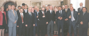 Parliamentarians from Armenia and Georgia (left) with members of the House of Commons and the House of Lords at a reception in their honour hosted by the Deputy Speaker of the House of Commons, Rt Hon Sir Alan Haselhurst, London, June 2002