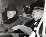 Winston Churchill and Bernard Baruch in car 14 April 1961