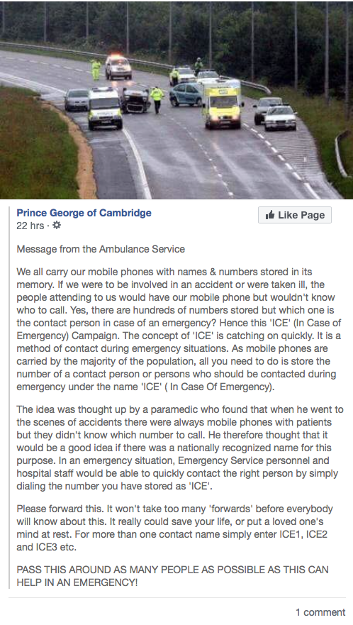 Prince George of Cambridge pushes ICE, in case of emergency app