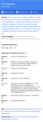Coronavirus isolated from humans, patent timeline